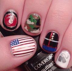 Marine corps nails dress blues marine corps nail art usmc nails prinsesfo Images