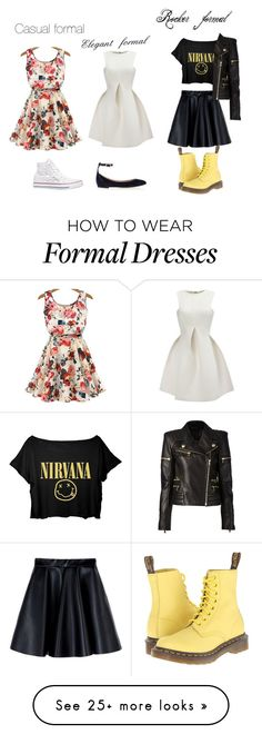 """School formal"" by mayalee-2 on Polyvore featuring Converse, Chloé, MSGM, Balmain, Dr. Martens, women's clothing, women's fashion, women, female and woman"
