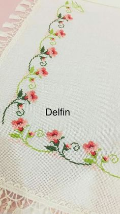 Lovely floral/roses cross stitch embroidered tablecloth in white linen from Sweden Cross Stitch Tree, Simple Cross Stitch, Cross Stitch Borders, Cross Stitch Designs, Cross Stitching, Cross Stitch Patterns, Floral Embroidery Patterns, Hand Embroidery Stitches, Beading Patterns