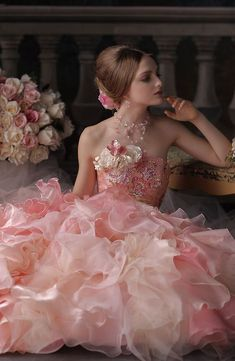 Pink gown...