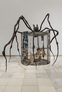 """""""Louise Bourgeois. Structures of Existence: The Cells""""  Venue: Garage Museum of Contemporary Art, Moscow (2015-2016) Spider/ L. Bourgouis  1997 Steel, tapestry, wood, glass, fabric, rubber, silver, gold and bone 177 × 262 × 204 in"""