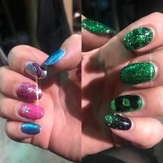 Themed hands for Glinda and Elphaba detailing green, black, pink, blue, silver - wand, shoe, witch and ivy Wands, Ivy, Pink Blue, Witch, Nail Art, Shoe, Green, Silver, Beauty