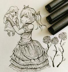 不気味な人形を持つ少女。#girl #manga #anime #draw #drawing #art #arts #artist #desenho #desenhos #desenhando #desenhar #dibujo #dibujos #dibujando #dibujar #flower #cool #dark #mangagirl #girl