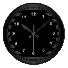 $29.95 Classy Black / Gold Numbers and Stripes Wall Clock. #Clocks #classy #decor #zazzle