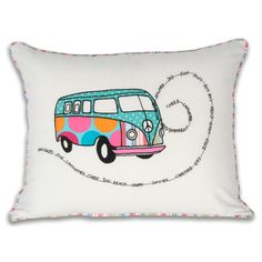 This colorful and eye-catching throw pillow will bring any room to life. Simply toss it on a sofa or chair to instantly invigorate the décor with a fun graphic pop. W x cottonSpot cleanImported Sweet Logo, Quilting Blogs, Music Crafts, Vw T1, Volkswagen Bus, Vintage Vans, Travel Themes, Happy Campers, Cushion Covers