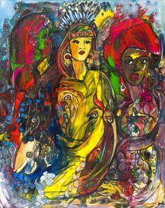 Artwork >> Jürgen Grafe >> MAMA AFRICA #artworks, #masterpiece, #oiloncanvas, #bright, #colorful, #mama, #africa, #lady