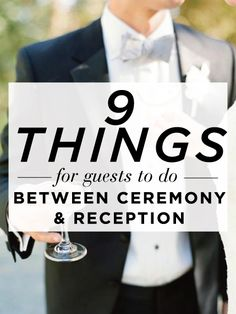 9 Things for Guests to Do between the Ceremony & Reception. You'll need plenty of time for wedding photos after your ceremony -- use these ideas to keep your guests entertained while you're away! Wedding Planning Tips, Wedding Tips, Wedding Engagement, Wedding Events, Our Wedding, Dream Wedding, Wedding Reception Games For Guests, Wedding Stuff, Purple Wedding