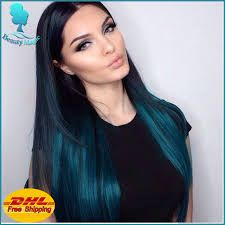 Vibrant Hair Color for Dark Hair - Teal Ombre Hair Color Kylie Hair, Kylie Jenner Blue Hair, Jenner Hair, Ombre Hair Color, Ombre Green, Fun Hair Color, Peacock Hair Color, Turquoise Hair Ombre, Peacock Blue