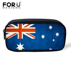 Retro 3D Flag Printing Student Pencil Bag Stationery Pouch Office School Supplies Women Travel Makeup Bag Toiletry Case Necesser