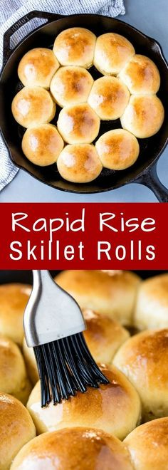 Rapid Rise Skillet Yeast Rolls will have homemade dinner rolls on your table in under 1 hour with absolutely not stand mixer required! (Home Made Bread Recipes) Homemade Dinner Rolls, Dinner Rolls Recipe, Homemade Breads, Homemade Yeast Rolls, Recipes Dinner, Quick Yeast Rolls, Easy Rolls, Bread Recipes, Baking Recipes