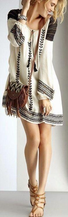 @roressclothes clothing ideas #women fashion  Boho Embroidery Dress T