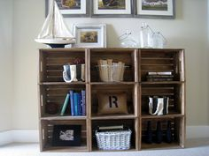Easy Crate Bookshelves - The Lilypad Cottage, great storage Best Picture For Wooden crates bookshelf Home Improvement Projects, Home Projects, Apartment Projects, Diy Furniture, Furniture Design, Bedroom Furniture, Crate Bookshelf, Crate Shelving, Shelving Ideas