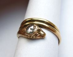 Antique Early Victorian SNAKE SERPENT .33 Carat Diamond Engagement RIng. $989.00, via Etsy.