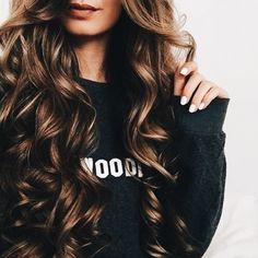 #hair long hair, pretty curls, curly hair, curled hair, pretty hair, brunette hair, hair style ideas