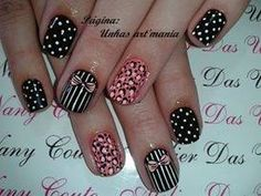 Black and pink accented with studs.