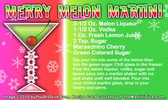 A Grinchy MERRY MELON CHRISTMAS MARTINI recipe on a Free Recipe Card - Click the image for the Full Sized, Print Quality Recipe Card!