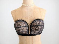 Vintage 1940s Brassiere   40s 50s Black Lace by RaleighVintage, $62.00