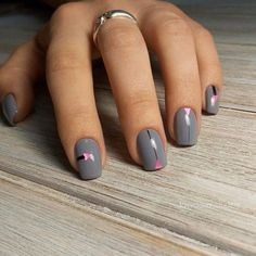 Дизайн ногтей с рисунком, Идеи маникюра 2017, Идеи осеннего маникюра, Идеи серого маникюра, Модные тенденции маникюра 2017, Молодежный маникюр, Однотонные ногти, Осенний дизайн на короткие ногти