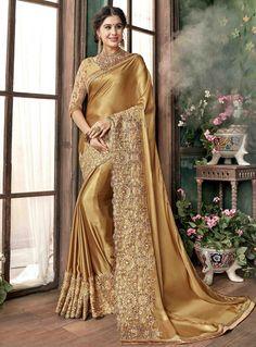 Golden Georgette Festival Wear Saree 118133