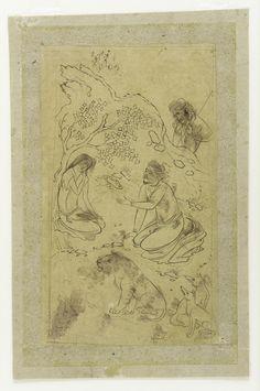 Majnun and his father in the desert TYPE Album folio HISTORICAL PERIOD(S)  Safavid 51c49cdebe