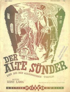 PAUL HÖBIGER - HANS LANG - DER ALTE SÜNDER - FILMMELODIE - 1951 ORIG. MUSIKNOTE