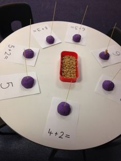 What a fun idea - using Cheerios and fine motor control to solve addition problems.Resultado de imagen para counting on elg maths receptionUse this when addition starts nextnweek. Say them and solve using this activitya little advanced for prek but can be Maths Eyfs, Numeracy Activities, Eyfs Classroom, Preschool Math, Kindergarten Math, Teaching Math, Math Tables, Maths Area, Math Challenge