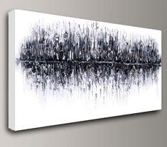 Acrylique peinture abstraite grand original mur art siège social intérieur décor texturée empâtement toile huile moderne blanc