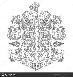 Descargar - Ornamento de la flor de dibujado a mano para adultos anti estrés — Ilustración de stock #133086580