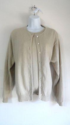 Talbots 2 Pc Set Sweater Top Shirt Blouse w. Cardigan 100% Cashmere Medium M #Talbots #Cardigan