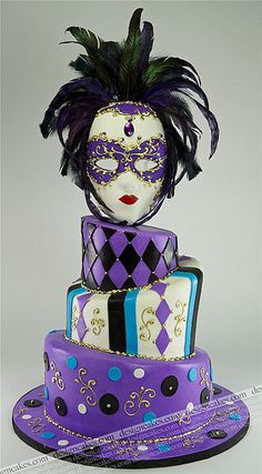 Mardi gras cake, Masquerade cake by Design Cakes, via Flickr