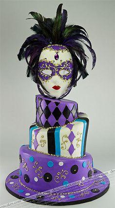 Mardi gras cake, Masquerade cake   Flickr - Photo Sharing!