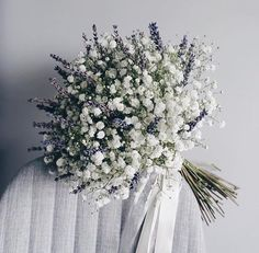 Hottest 7 Spring Wedding Flowers to Rock Your Big Day--baby breath and lavender wedding bouquets, spring wedding flowers, white and purple wedding colors Bridal Flowers, Flower Bouquet Wedding, Floral Wedding, Dried Lavender Wedding, Baby's Breath Wedding Bouquet, Purple Wedding, Bridal Boquette, Winter Wedding Bouquets, Bouquet Of Flowers