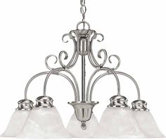 View the Volume Lighting V2145-33 Brushed Nickel Troy 5 Light 1 Tier Chandelier with Alabaster Glass at Build.com.