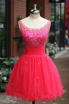 Short Tulle Homecoming Dress, Party Dresses, Cocktail Dresses with Crystals