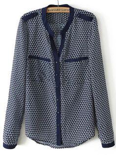623e52a984 2013 Queda Hot Top Fashion Mulheres Casual azul manga comprida geométrica  Imprimir Bolsos Blusa em Blusas