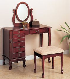 300073 Darby home co 3 pc cherry finish wood bedroom makeup vanity set with jewelry armoire base with mirror and stool. This set features a jewelry armoire base , oval mirror and stool. Vanity measures x x to the top of the mirror. Stool me Bedroom Makeup Vanity, Bedroom Vanity Set, Vanity Table Set, Makeup Table Vanity, Vanity Set With Mirror, Wood Vanity, 36 Vanity, Oval Mirror, Bedroom Vanities
