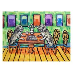 Irish Wolfhounds Playing Checkers Dog Art Print  8x10 by lulunjay, $12.49