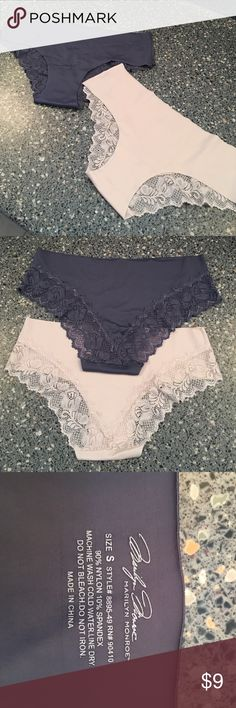 NWOT No Show panties NWOT no show hip hugger panties with pretty lace edging.  One gray and one cream colored panty. Intimates & Sleepwear Panties