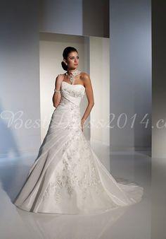 a-line embroidery organza chapel train empire waist wedding dress - Bestdress2014.com