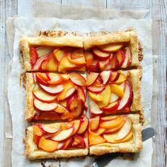 Easy Summer Tart Recipe Desserts with puff pastry sheets, stone fruit, honey, lemon juice, eggs