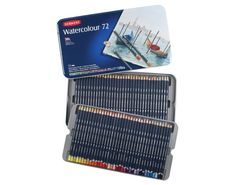 Derwent Watercolor Pencils Metal Tin 72 Count 32889 for sale online Watercolor Effects, Watercolor Pencils, Watercolor Paintings, Watercolor Drawing, Drawing Art, School Supplies, Art Supplies, Derwent Colored Pencils, Pastel Pencils