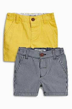 Buy Navy Gingham/Yellow Chino Shorts Two Pack from the Next UK online shop Baby Boy Dress, Baby Boy Swag, Baby Boy Outfits, Kids Outfits, Kids Shorts, Boy Shorts, Chino Shorts, Baby Boy Fashion, Kids Fashion