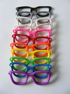 Nerd Glasses Charm for DIY Necklaces Assorted Colours via Etsy