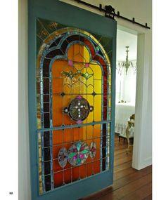 Love this inside barn sliding stain glass door!