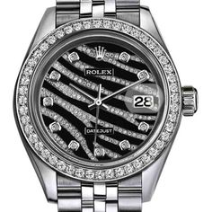 Pre-owned Rolex Datejust Stainless Steel Steel/18K White Gold Zebra... ($7,999) ❤ liked on Polyvore featuring jewelry, watches, white gold watches, water resistant watches, preowned jewelry, pre owned watches and zebra watches