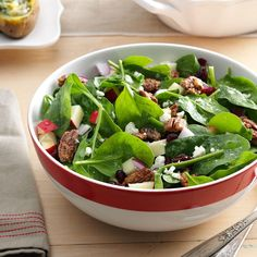 Spinach, Apple & Pecan Salad Recipe -Company was on the way, and I forgot to buy salad fixings. Scavenging the fridge for ingredients, I pulled it together and invented a salad superstar. —Kelly Walsh, Aviston, IL