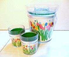 Vintage Ice Bucket and 2 Glassses Acrylic Mid by ElleBeeVintage