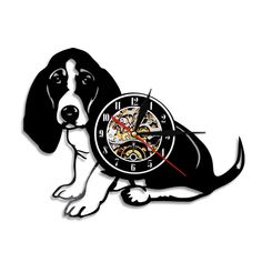 Basset Dog Vinyl Record Wall Clock Animals Modern Vintage Wall Art Led Light Timepiece Handmade Gift For Dog Lover Basset Hound, Basset Dog, Dog Lover Gifts, Dog Gifts, Dog Lovers, Vintage Wall Art, Vintage Walls, Personalised Wall Stickers, Record Wall