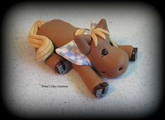 Polymer Clay Horse with Flower by trinasclaycreations on Etsy