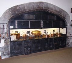 Parham House, 'Tudor' Kitchen (stoves are probably a later addition) -  just awesome